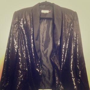 Black Sequin Calvin Klein Size Large Jacket